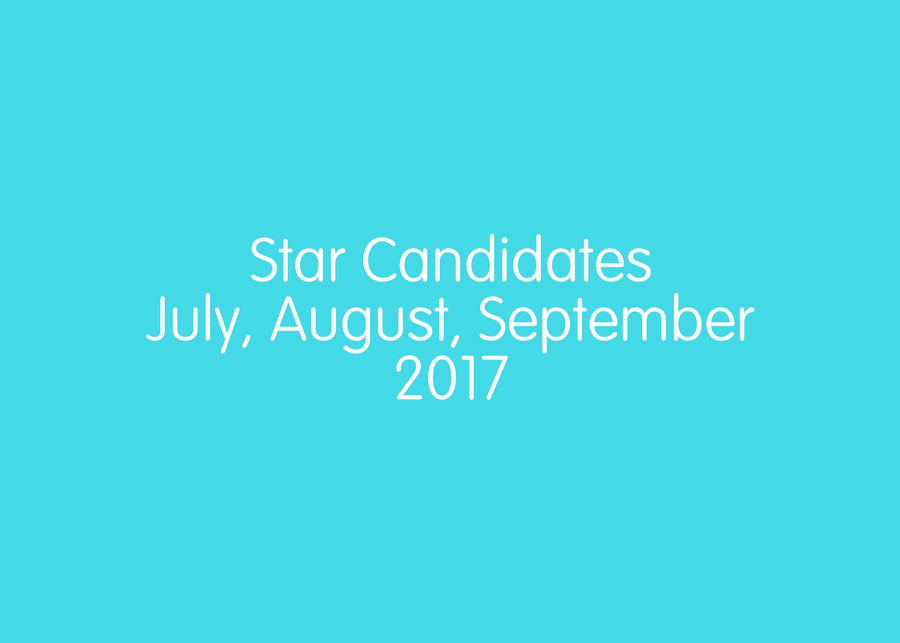 Star Candidates July, August & September 2017